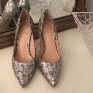 Vince Camuto silver heels size 5